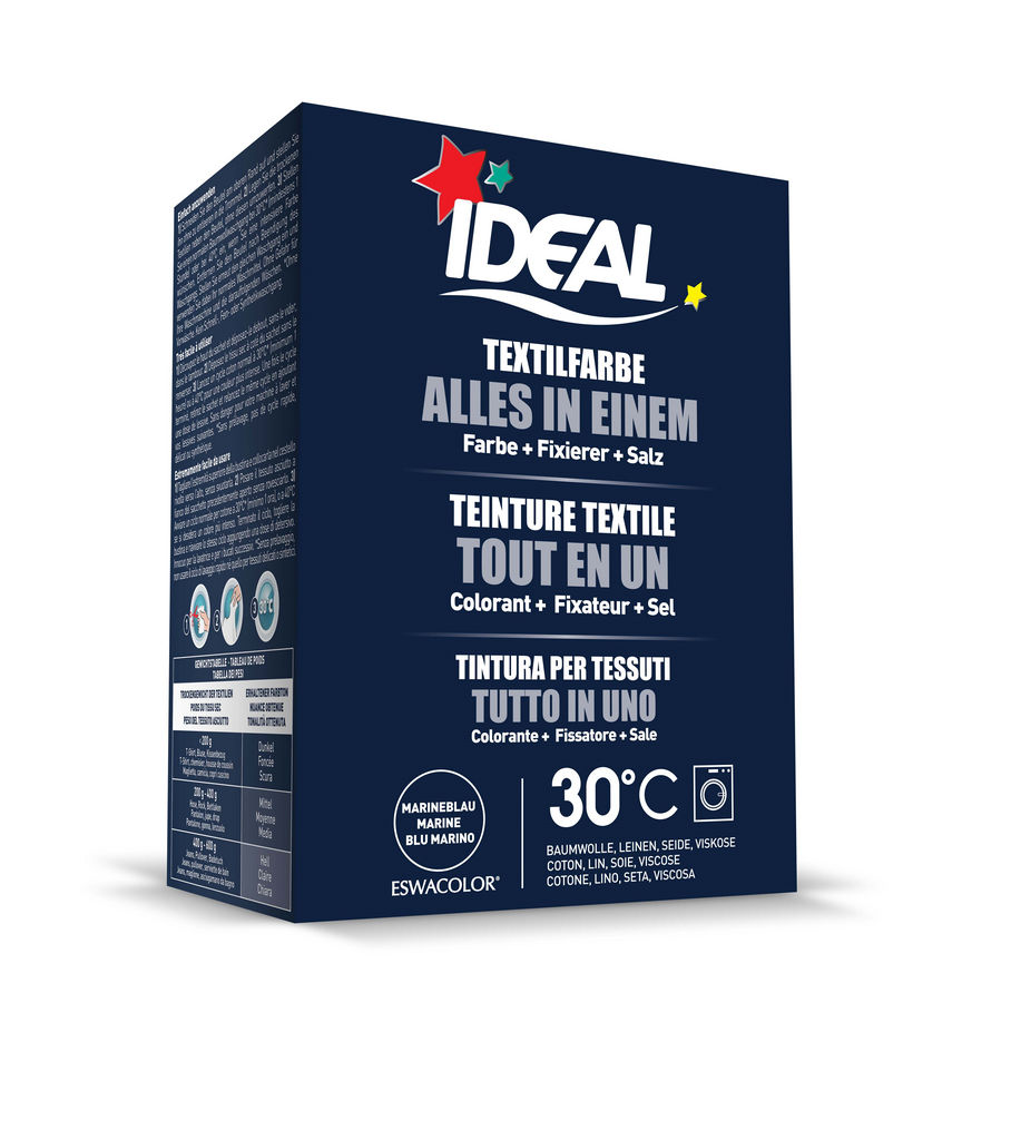 Barva za tkanine Ideal All in One temno modra, 230g