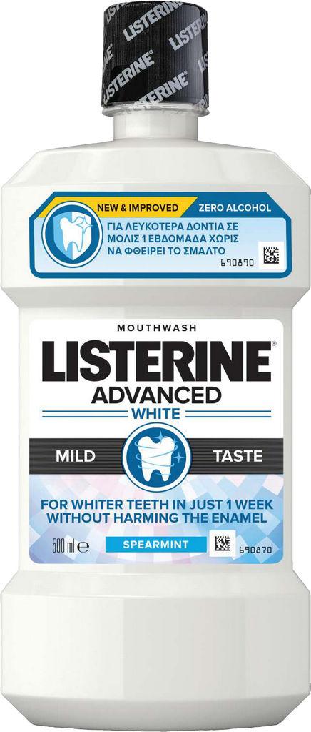 Ustna voda Listerine, Advanced White Mild Taste, 500ml