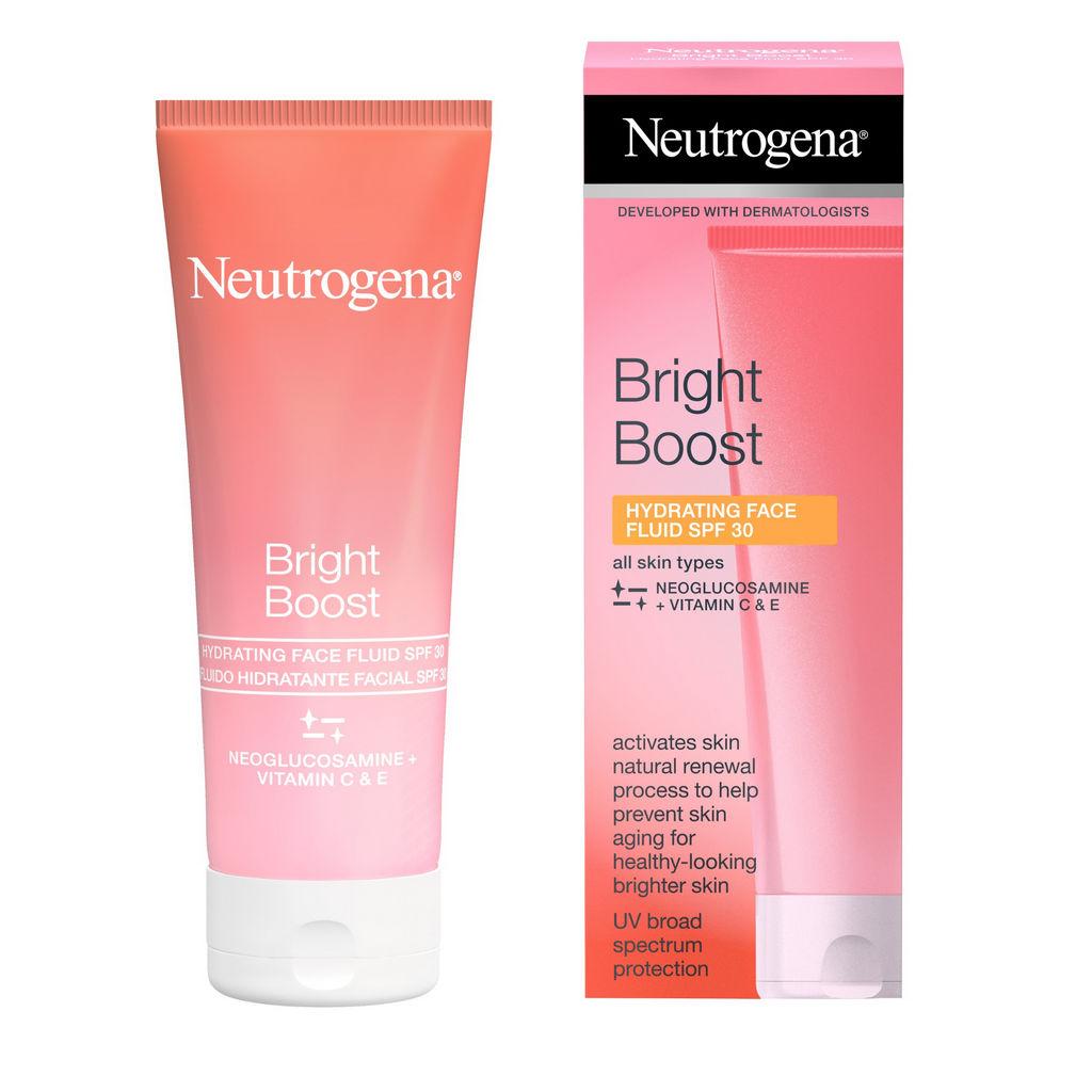 Krema za obraz Neutrogena, Bright Boost, vlažilni fluid SPF 30, 50 ml
