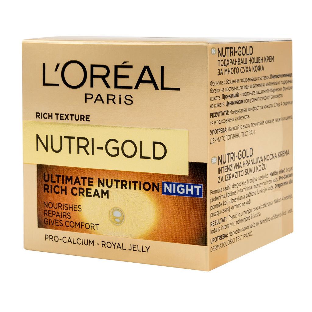 Krema L'oreal, Nutri gold nočna, 50 ml
