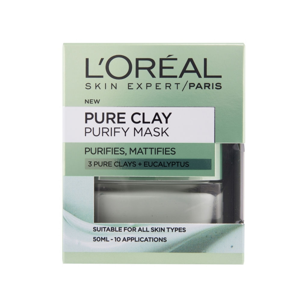 Maska za obraz L'oreal, Pure Clay, Purify, 50 ml