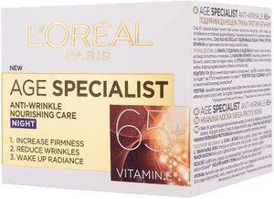 Krema za obraz proti gubicam L'oreal, Age Specialist, nočna 65+, 50 ml