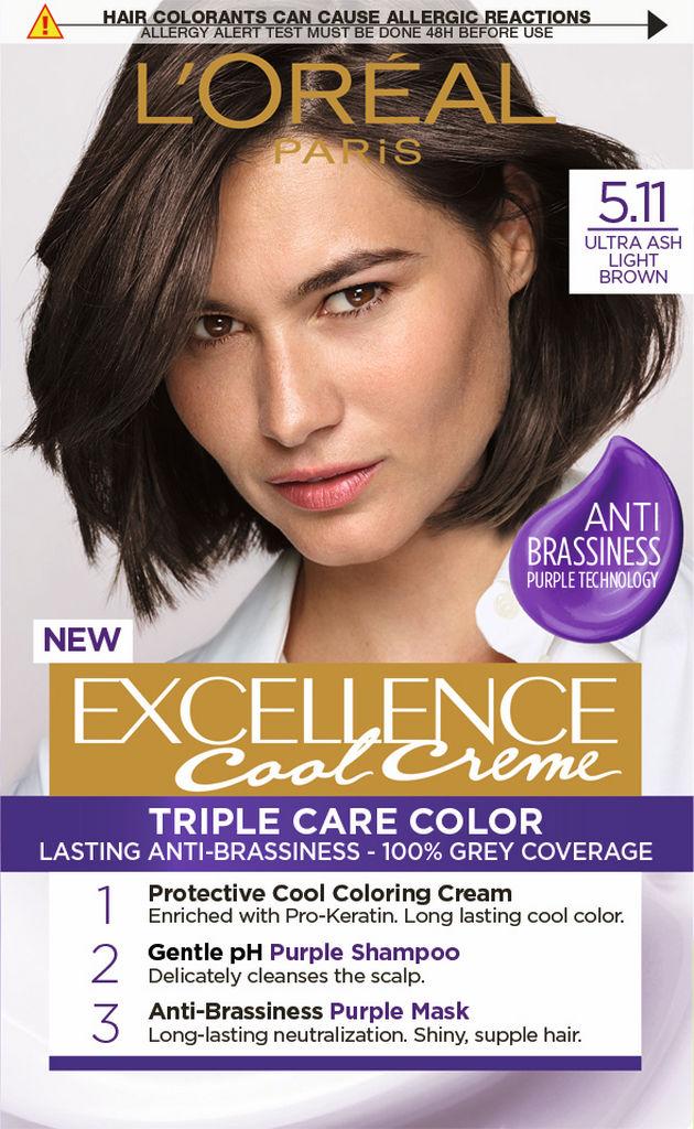 Barva za lase L'Oreal Excellence, pepelnato svetlo rjava, 5.11