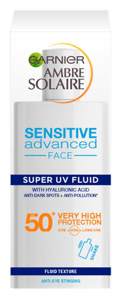 Zaščita proti soncu za obraz Garnier Ambre Solarie Ultra Light Sensitive fluid ZF50, 40Ml