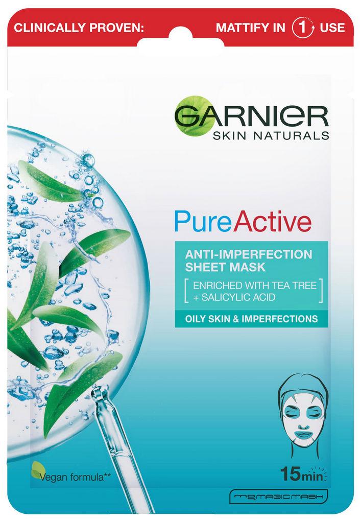 Maska vlažilna Garnier, Pure Active, 23 g