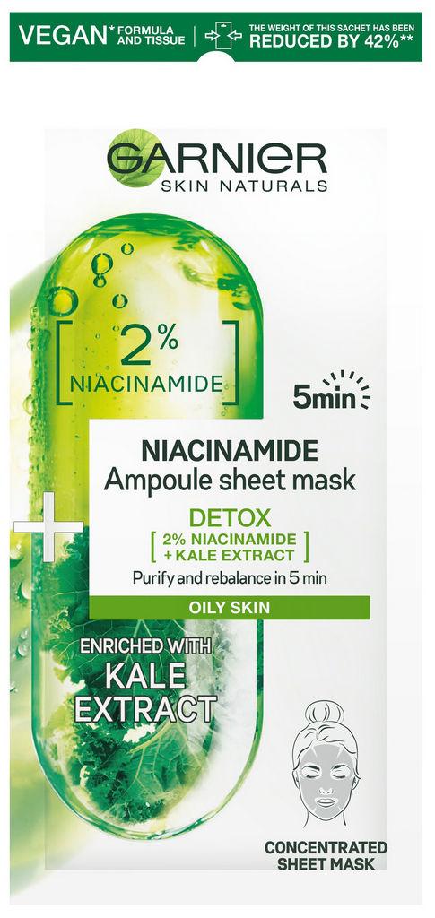 Maska za obraz Garnier, Niacinamide ampule sheet za čisto kožo, 15 g