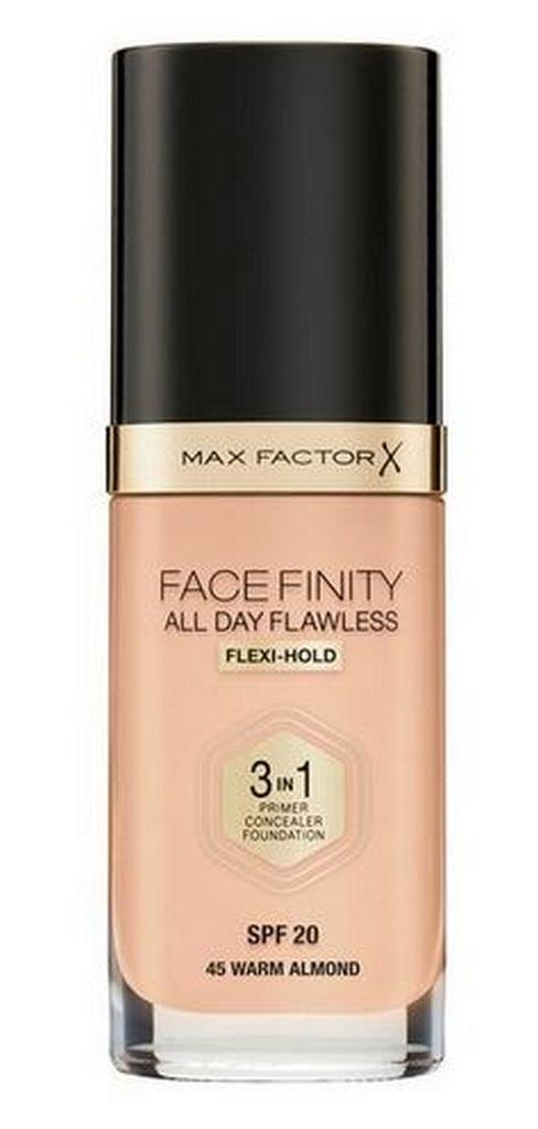 Podlaga Max Factor Facefinity, 3 v 1 tekoča, 45 Warm Almond