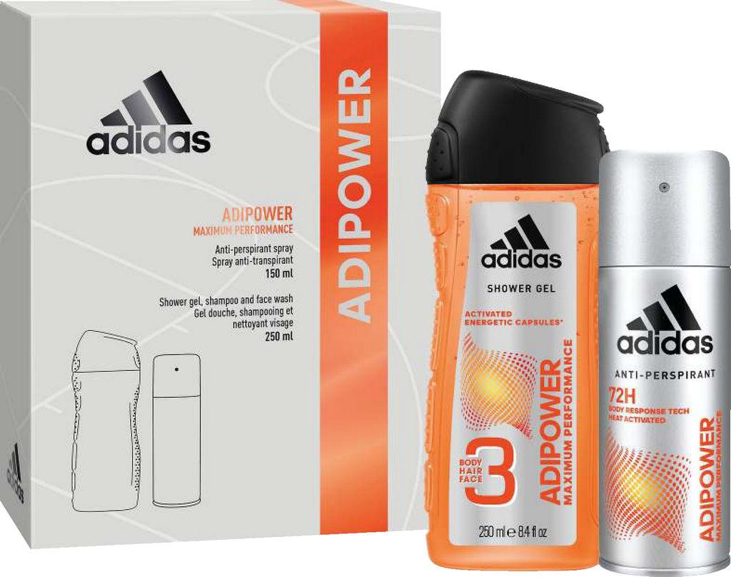 Darilni set Adidas moški Adipower dezodorant 150ml + gel za tuširanje 250ml