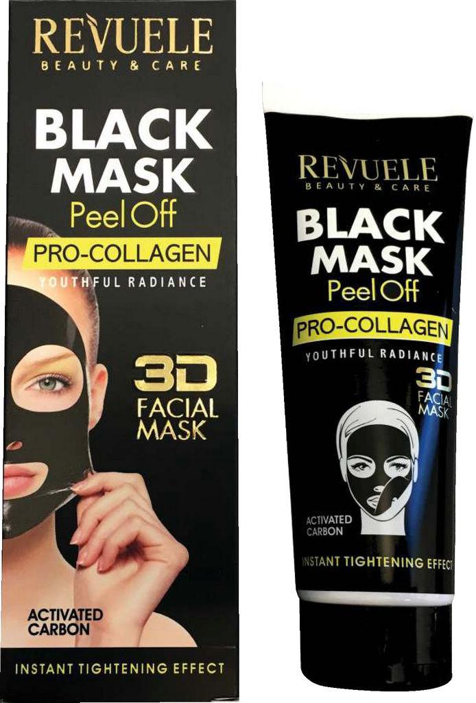 Maska Revuele, Pro collagen, 3D, črna, 80ml