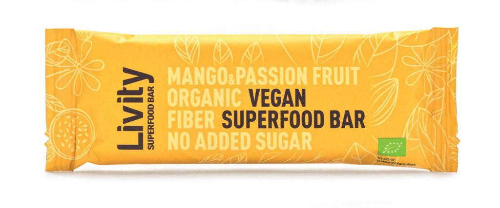 Ploščica Bio Livity, mango&pasijonka, 30 g