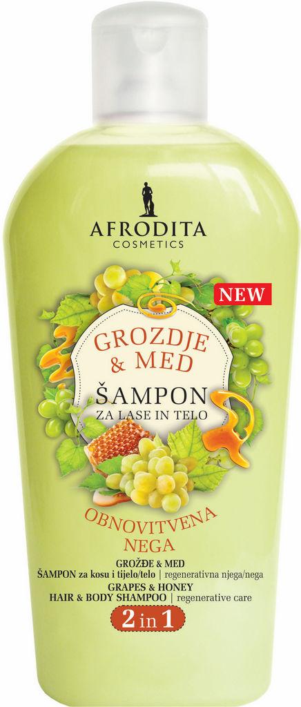 Šampon za lase Afrodita, grozdje in med, 1 l