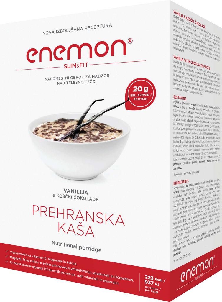 Nadomestni obrok Enemon Slim okus vanilije in koščki čokolade, 10x30g