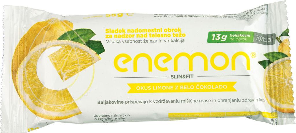 Ploščica Enemon, limona z belo čokolado, 55g