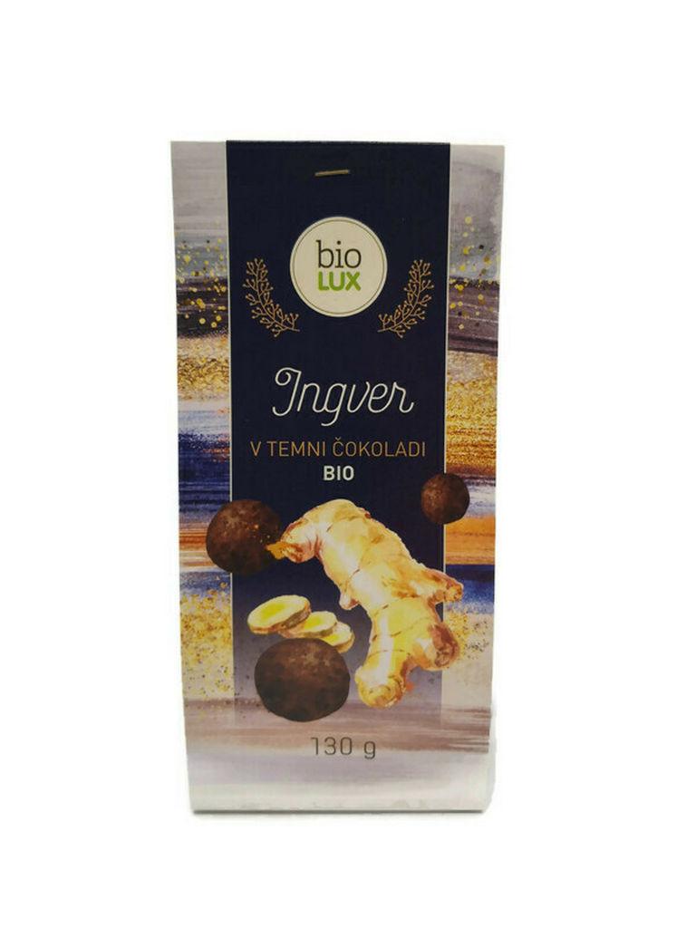Ingver Bio Biolux, v temni čokoladi, 130 g