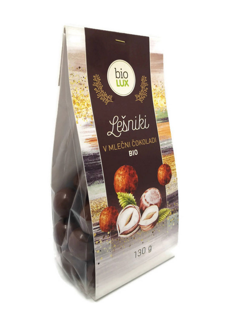 Lešniki Bio Biolux, v mlečni čokoladi, 130 g