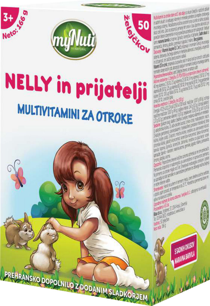Multivitamini za otroke, 3+, Nelly, 166g