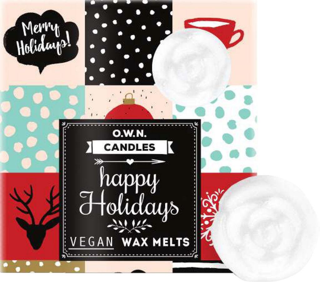 Vosek dišeči O.W.N. Candles v darilni škatlici, Happy holidays
