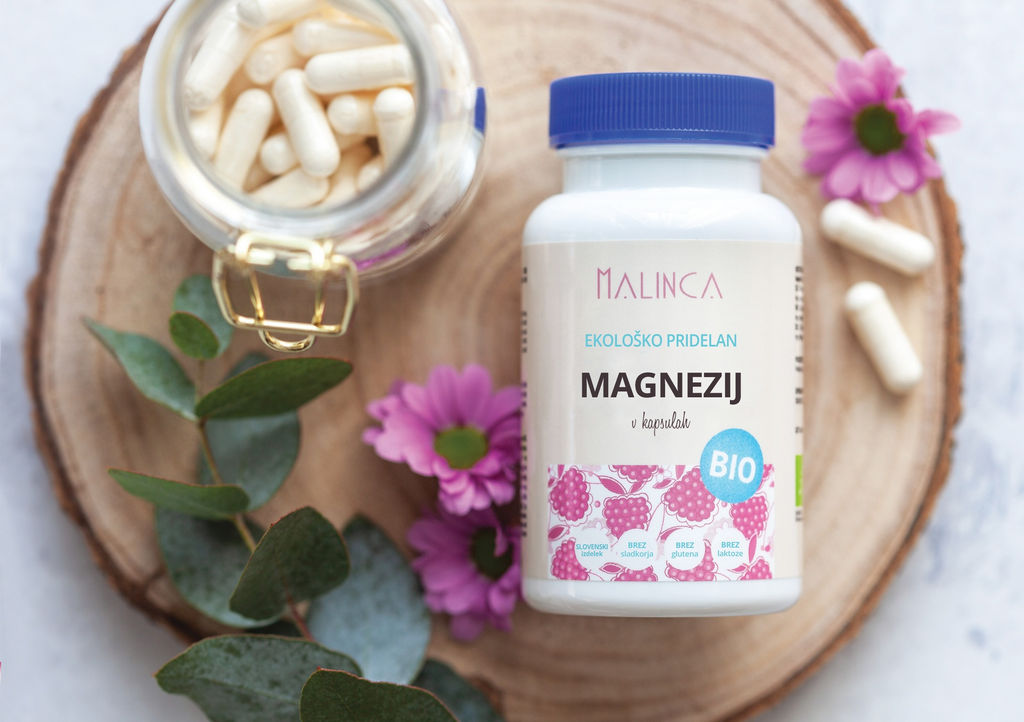 Prehransko dopolnilo magnezij Malinca, ekološka pridelava, 60 kapsul