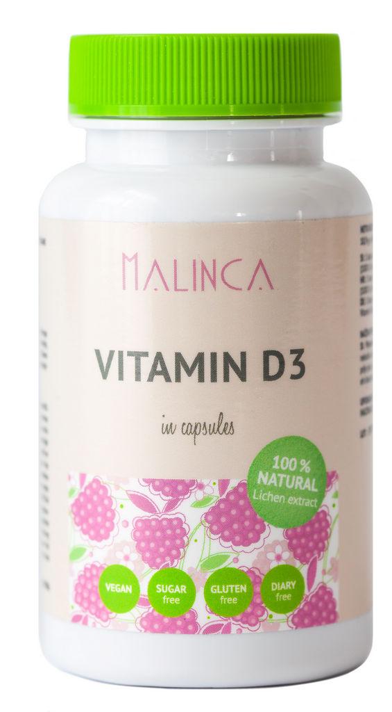 Prehransko dopolnilo Vitamin D3 Malinca, 60 kapsul