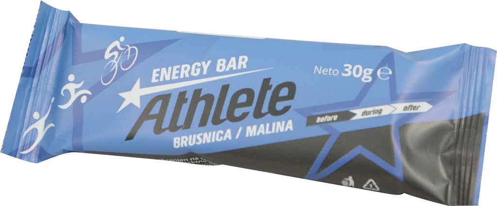Athlete energy bar, brusnica, malina, 30g