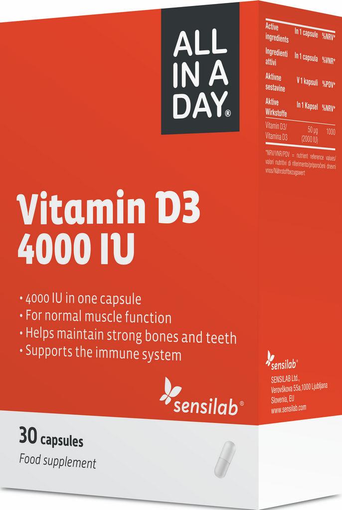Prehransko dopolnilo Sensilab, ALL IN A DAY Vitamin D3 4000IU, 30 kapsul