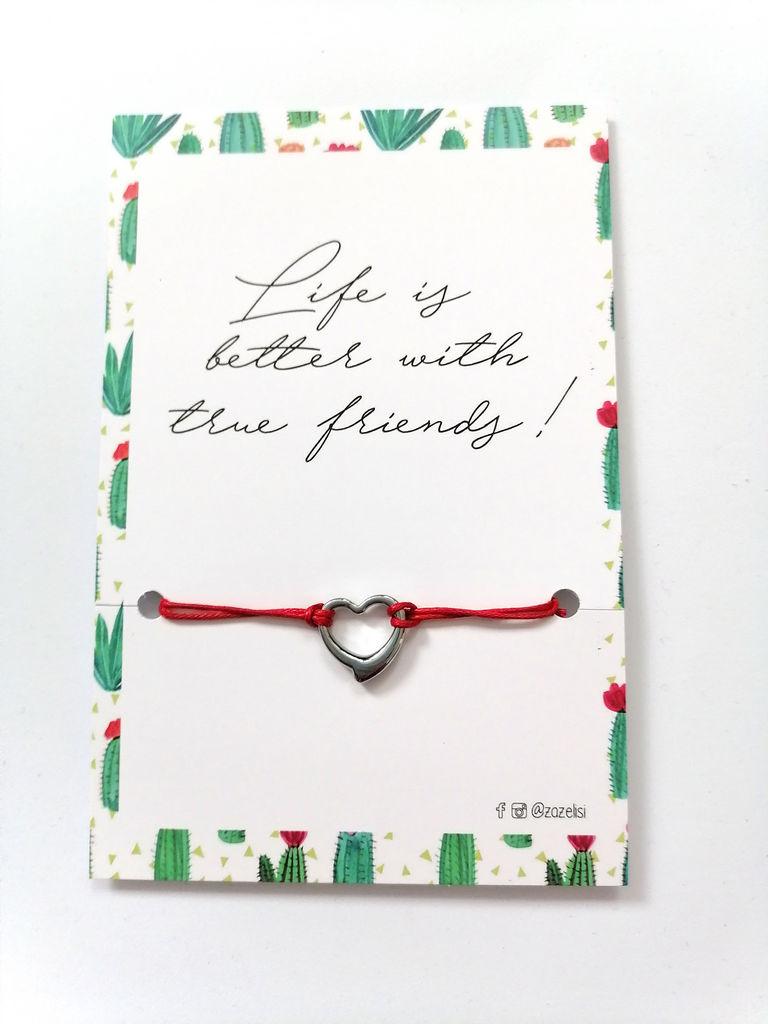 Zapestnica z obeskom na vizitki, srce, rdeča