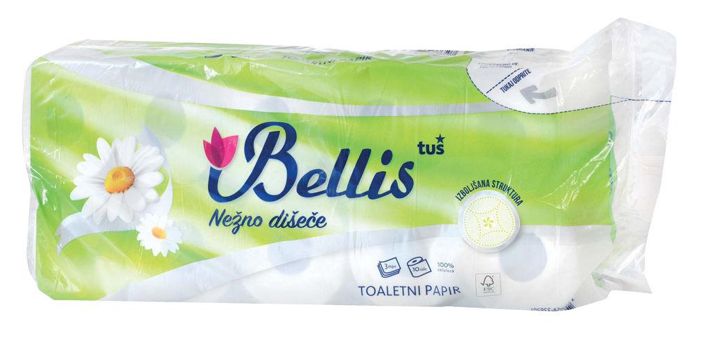 Toaletni papir Bellis, 3sloj., 150list., 10/1