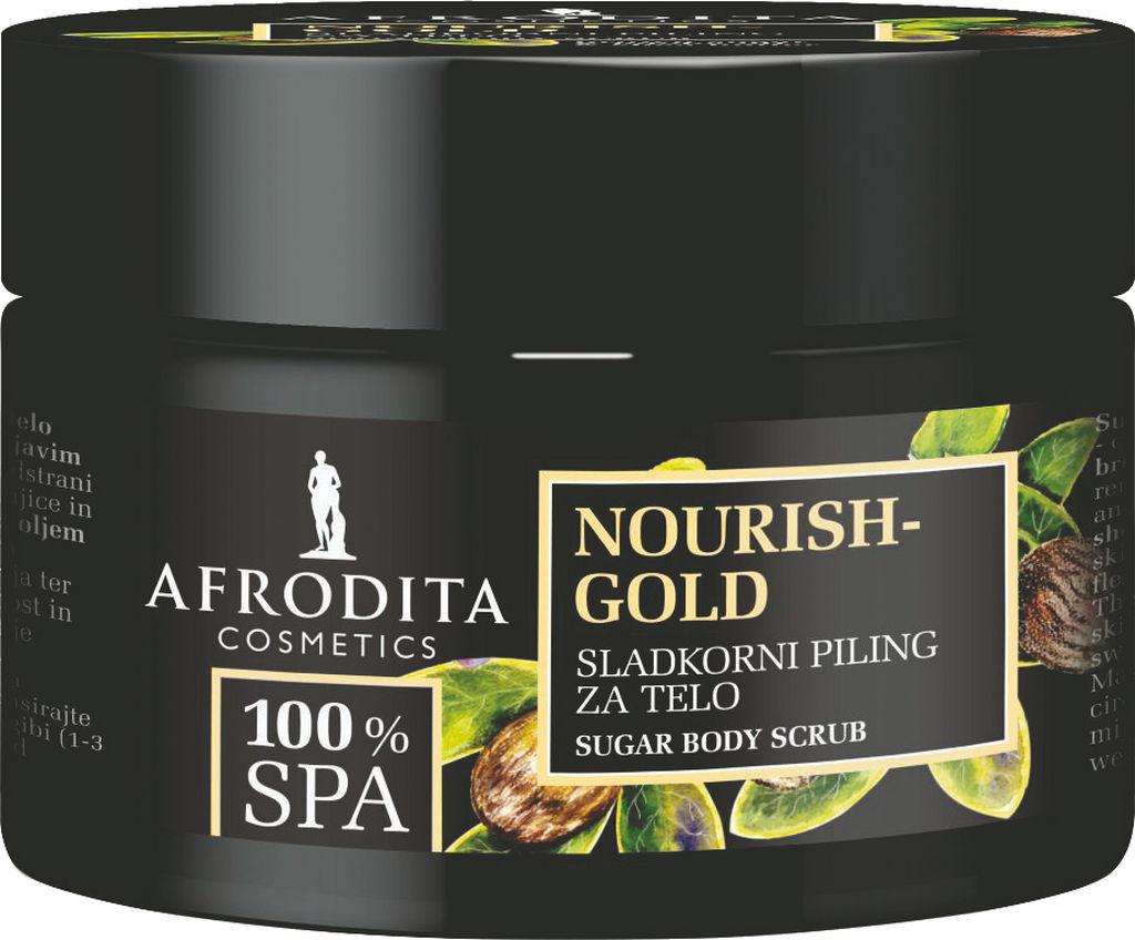 Piling sladkorni za telo Afrodita, 100% SPA Nourish Gold, 175 g