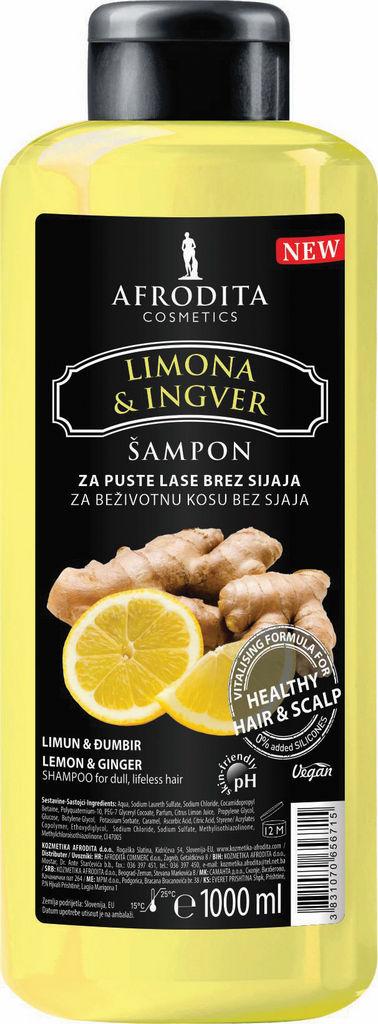 Šampon za lase Afrodita, Limona&Ingver, 1l