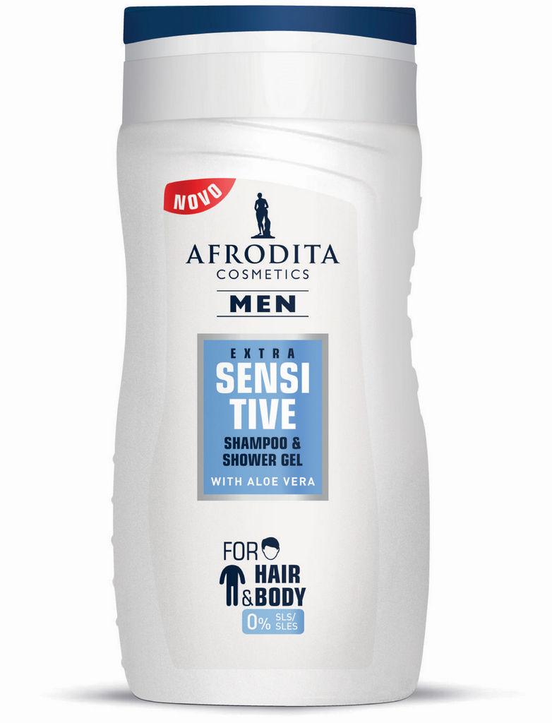 Šampon & gel za prhanje Afrodita, Men Sensitive, 250 ml