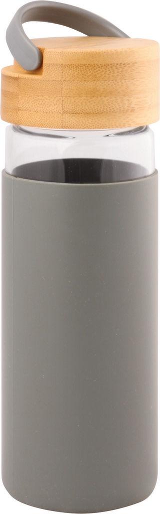 Steklenička Bamboo s pokrovom, siva, 0,48 l