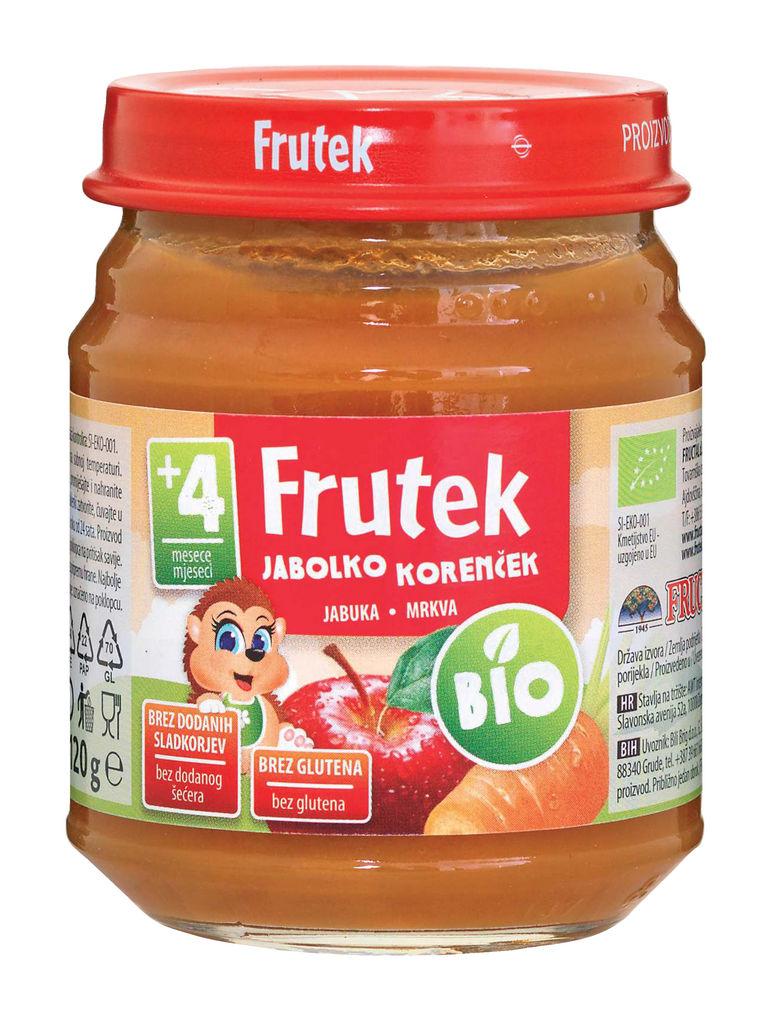 Frutek, Bio, jabolko in korenček, 120 g