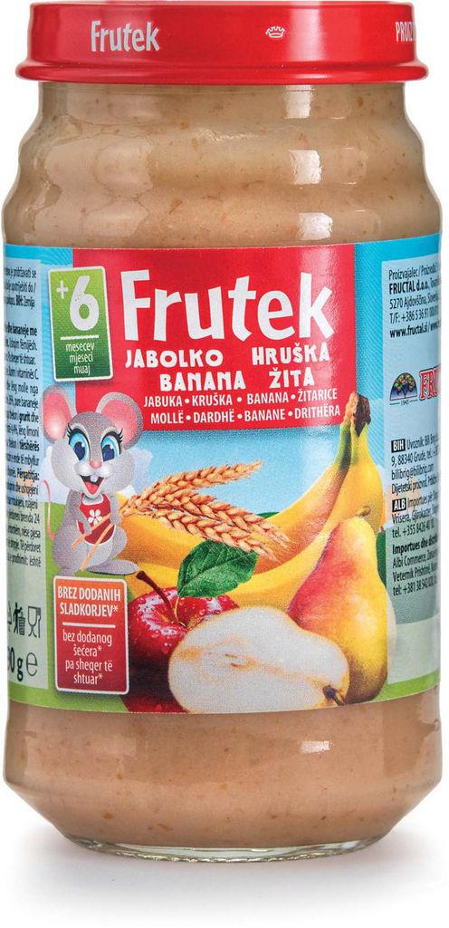 Frutek, hruška, banana, žita, 190 g