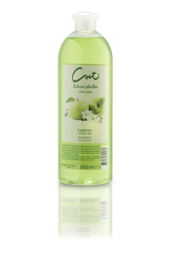 Šampon Cvet, zeleno jabolko, 1 l