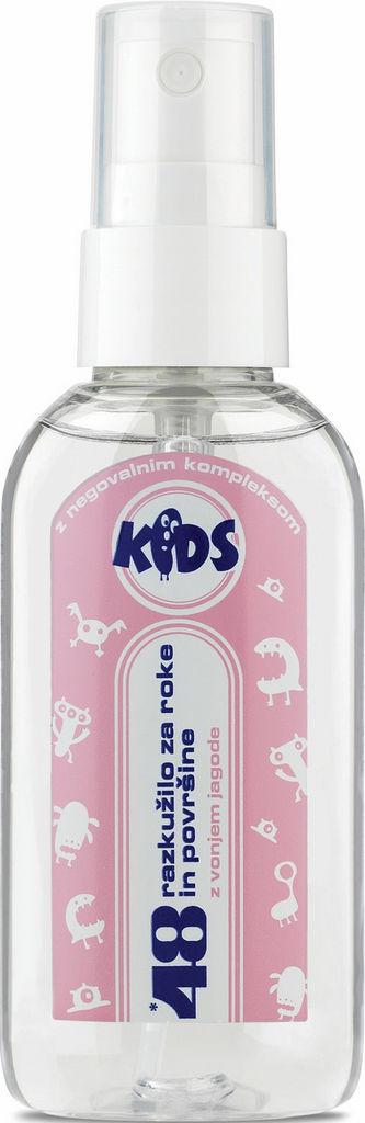 Razkužilo 48 Kids, za roke in površine, z vonjem jagode, 50 ml