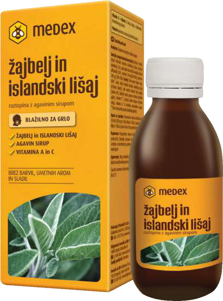 Sirup Medex, žajbelj in islandski lišaj, 150 ml