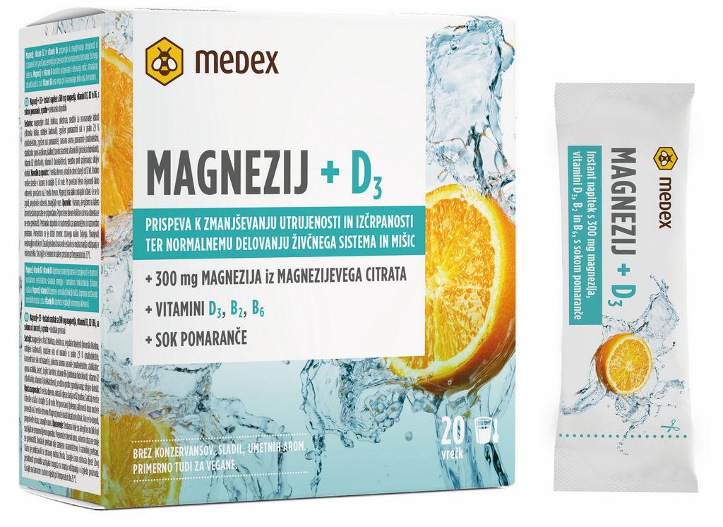 Instant napitek Medex Magnezij + D3, 20 vrečk po 6,8 g v prahu