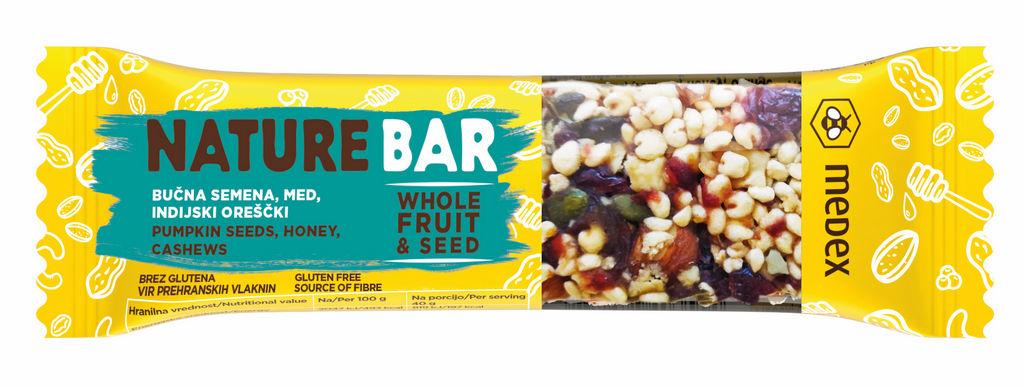 Ploščica Nature Bar, bučna semena, 40g