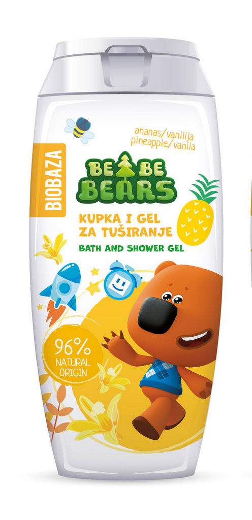 Kopel in gel za tuširanje Biobaza Bebe Bears, ananas, 250ml