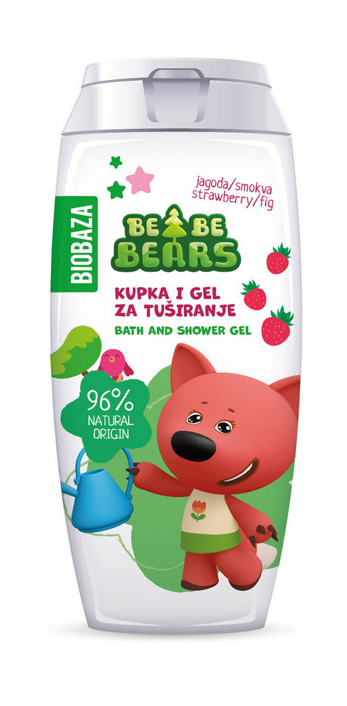Kopel in gel za tuširanje Biobaza Bebe Bears, jagoda& smokva, 250ml