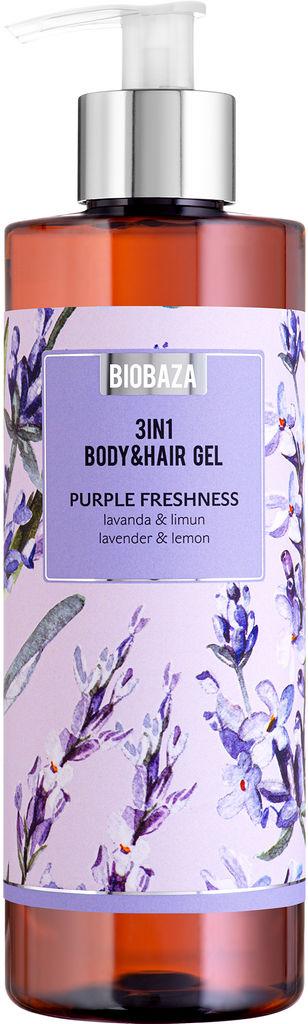 Gel za prhanje Biobaza, body&hair 3v1 sivka limona, 400ml