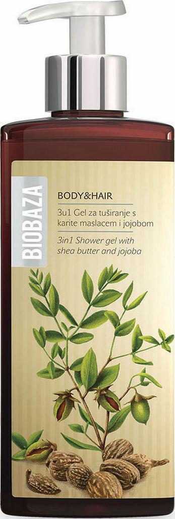Gel za prhanje Biobaza, body&hair 3v1 jojoba shea, 400ml