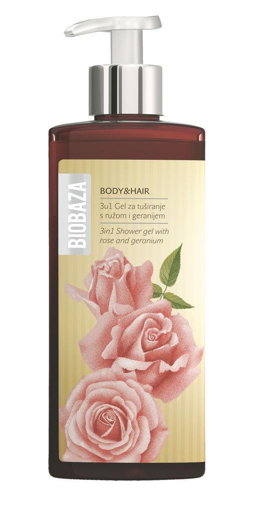 Gel za prhanje Biobaza, body&hair 3v1 vrtnica geranija, 400ml