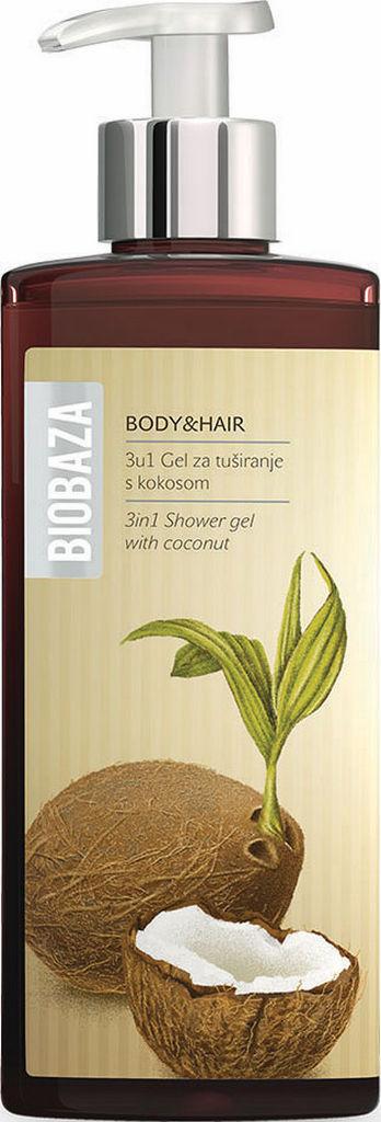 Gel za prhanje Biobaza, body&hair 3v1 kokos, 400ml