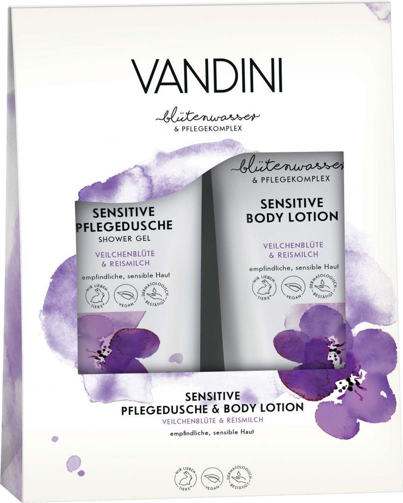 Darilni set Vandini, Sensitive losjon za telo in gel za prhanje, 2x200ml