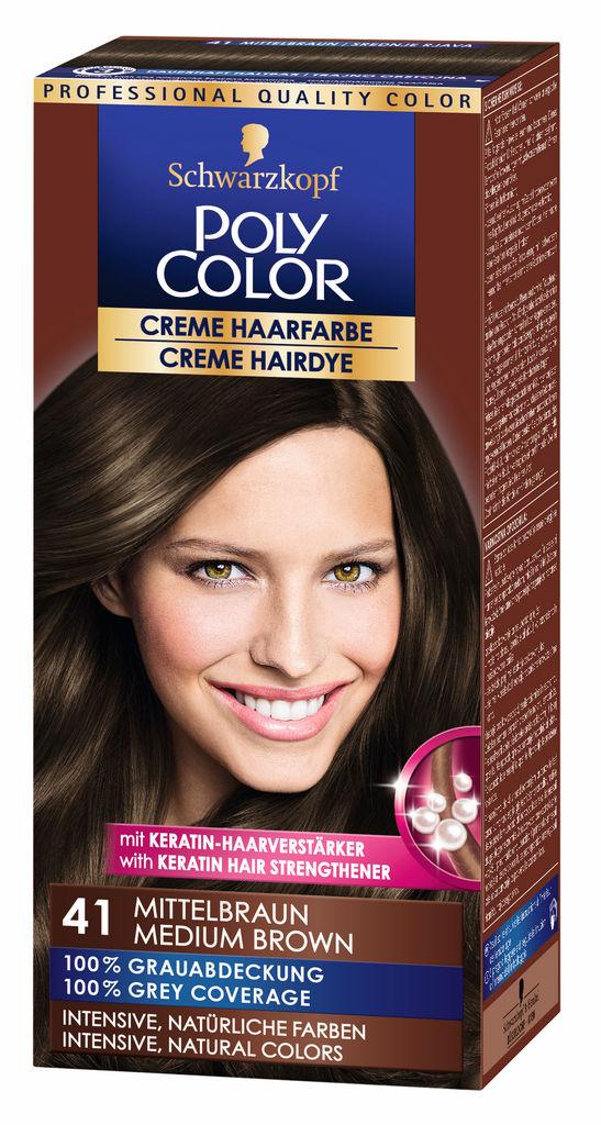Barva za lase Poly Color, 41, srednje rjava