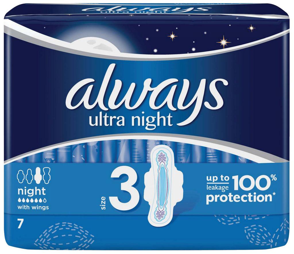Higienski vložki Always ultra nočni, 7/1