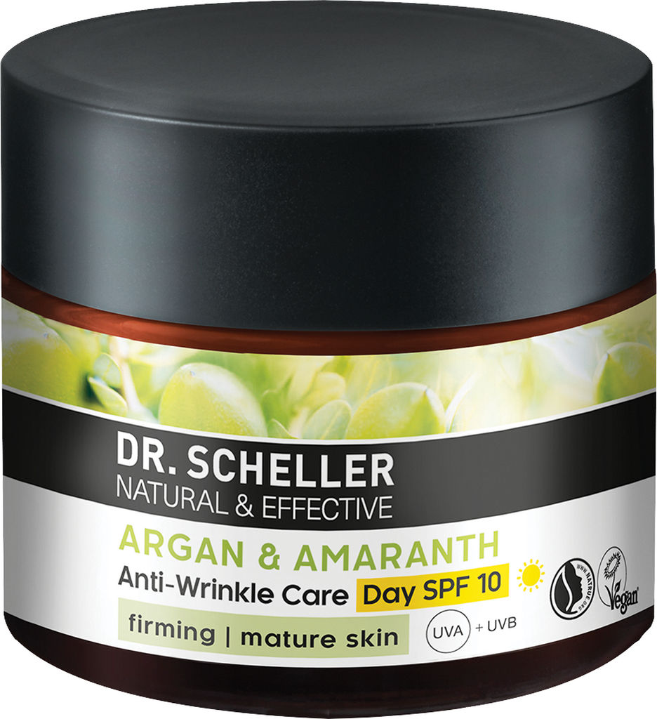 Krema za obraz Dr. Sheller z arganom in amarantom dnevna proti gubicam SPF10, 50ml