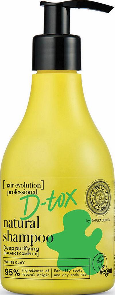 Šampon Natura Siberica D-tox, z belo glino, 245 ml