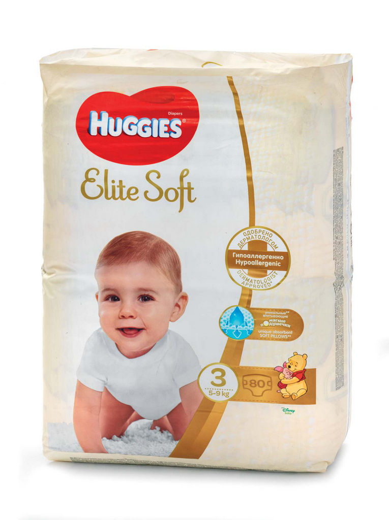 Plenice Huggies, Elite soft 3, mega, 80/1